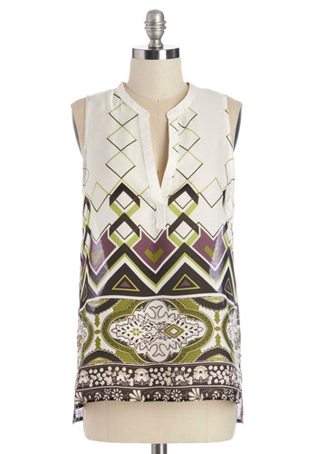 Decor Values Top - Woven, Multi, Green, Purple, White, Print, Work, Casual, Sleeveless, Summer, Multi, Sleeveless
