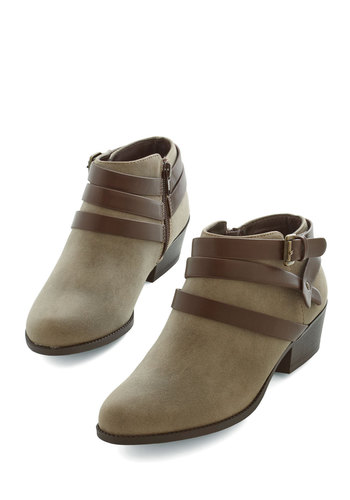 Everywhere I Go Bootie in Taupe - Low, Faux Leather, Tan, Festival, Good, Solid, Casual, Variation, Boho