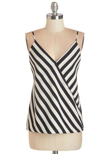 My Stripe of Gal Top - Woven, White, Stripes, Party, Cocktail, Girls Night Out, Spaghetti Straps, Summer, Black/White, Sleeveless, Black, V Neck