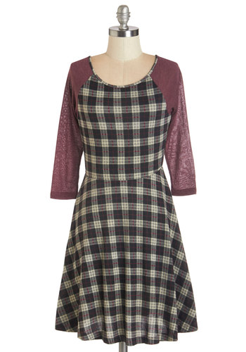 Slow and Study Dress - Plaid, Casual, Scholastic/Collegiate, Nifty Nerd, A-line, Short Sleeves, Fall, Knit, Good, Scoop, Multi, Red, Grey