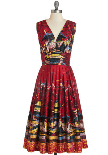 Travelin' Twirl Dress in Sightseeing - Multi, Novelty Print, Pleats, Daytime Party, Vintage Inspired, 50s, Fit & Flare, Sleeveless, Woven, Better, V Neck, Cotton, Variation, Long