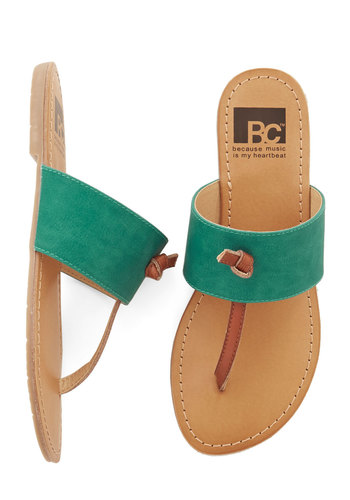 In the Late Night Lights Sandal in Turquoise by BC Footwear - Flat, Faux Leather, Green, Solid, Casual, Beach/Resort, Boho, Better, Variation