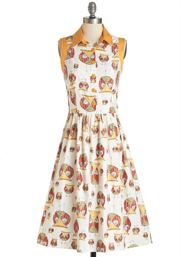 What a Hoot! Dress - Multi, Print with Animals, Buttons, Casual, Owls, A-line, Sleeveless, Woven, Better, Collared, Cotton, White, Spring, Summer, Woodland Creature, Statement, Full-Size Run, Long
