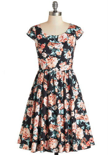 Garden Gazer Dress - Multi, Floral, Fit & Flare, Cap Sleeves, Woven, Better, Scoop, Daytime Party, Full-Size Run, Long