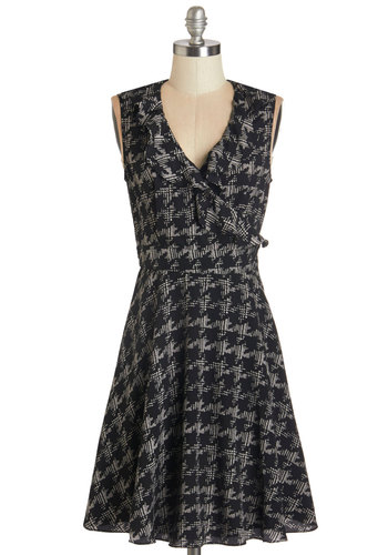 Pretty in Ink Dress - Black, Grey, Houndstooth, Ruffles, Work, Casual, A-line, Sleeveless, Woven, Better, V Neck