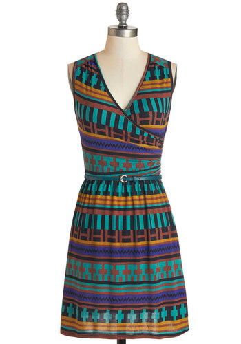 Full of Blithe Dress in Turquoise - Multi, Print, Belted, Casual, A-line, Sleeveless, Fall, Knit, Good, V Neck