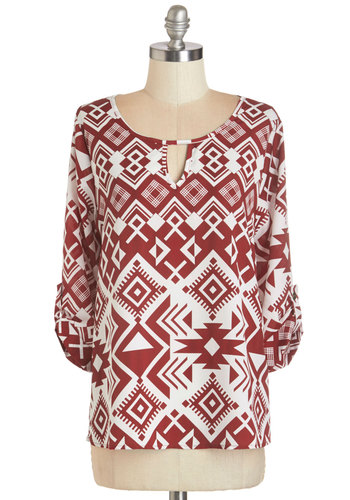 Wine Expertise Top - Woven, Red, White, Print, Work, 3/4 Sleeve, Scoop, Fall, Red, Tab Sleeve