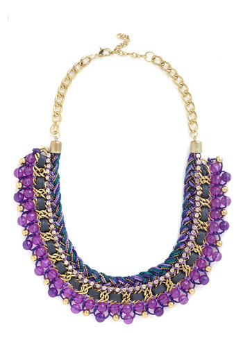 Bead Still My Heart Necklace in Purple - Purple, Multi, Solid, Beads, Chain, Boho, Statement, Urban, Gold, Party