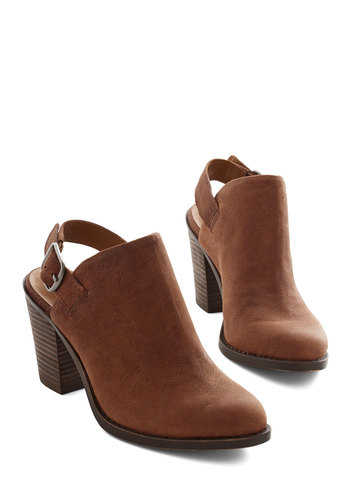 Roam Sweet Home Bootie by Lucky - Mid, Leather, Brown, Solid, Buckles, Urban, Better, Chunky heel, Slingback