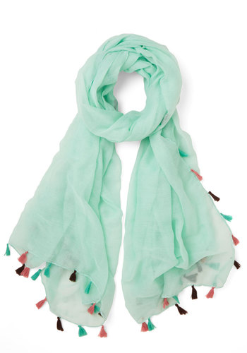 Whimsical Trim Scarf - Mint, Solid, Tassels, Boho, Darling, Festival, Spring, Summer, Sheer, Woven