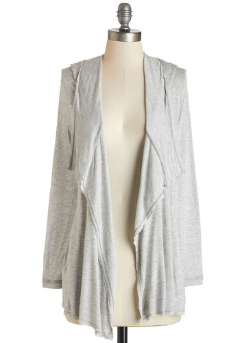 Fond of the Wind Cardigan - Grey, Long Sleeve, Woven, Grey, Solid, Pockets, Casual, Hoodie, Long Sleeve, Fall