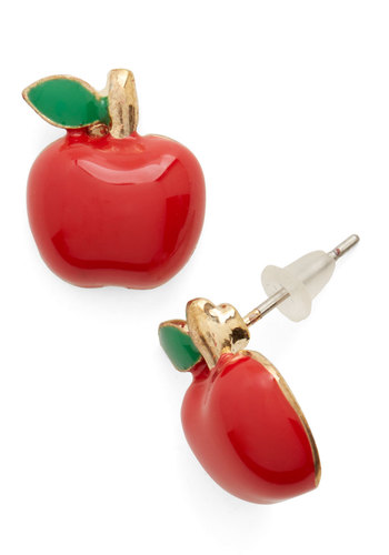 Charming to the Core Earrings - Red, Green, Solid, Casual, Fruits, Scholastic/Collegiate, Darling, Nifty Nerd, Gold