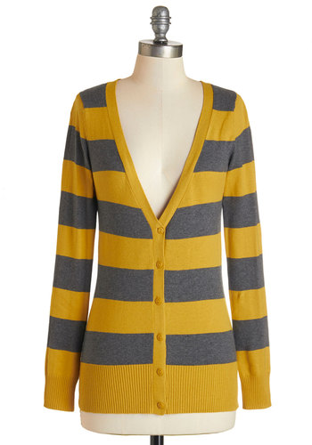 Delicious Date Cardigan in Grey and Gold - Knit, Yellow, Grey, Stripes, Buttons, Casual, Scholastic/Collegiate, Long Sleeve, Variation, V Neck, Fall, Yellow, Long Sleeve, Mid-length, Press Placement