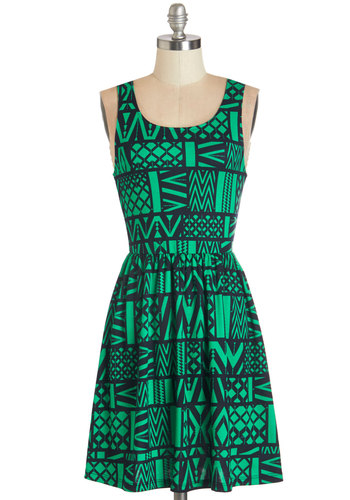 Land of Applause Dress - Woven, Green, Blue, Print, Bows, Casual, A-line, Sleeveless, Fall, Good, Scoop