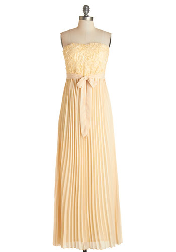 Dream of Buttercream Dress - Flower, Pleats, Belted, Special Occasion, Prom, Homecoming, Maxi, Strapless, Fall, Woven, Better, Sweetheart, Cream