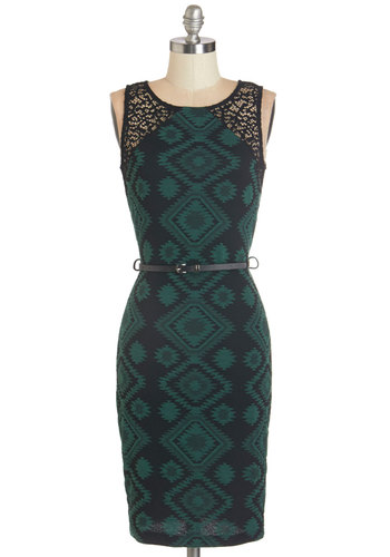 Lavish Lounge Dress - Green, Black, Print, Lace, Belted, Casual, Sleeveless, Fall, Knit, Good, Scoop, Exposed zipper, Shift, Bodycon / Bandage