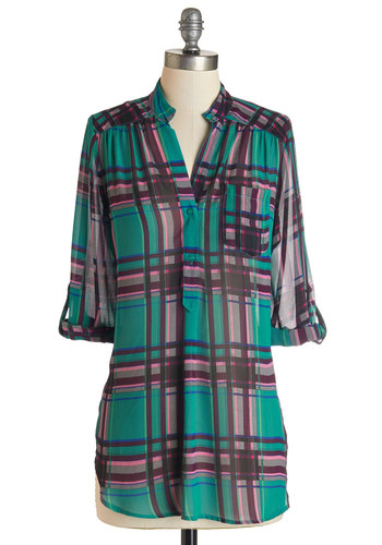 Living Room Lodging Top in Sea Green - Woven, Multi, Plaid, Buttons, Pockets, Casual, 3/4 Sleeve, Variation