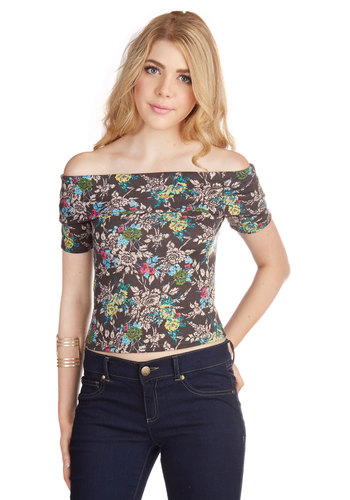 Band Finale Top in Wildflower - Jersey, Knit, Multi, Floral, Casual, Girls Night Out, Off the Shoulder