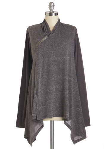 Busy Day Chic Cardigan - Grey, Solid, Casual, Long Sleeve, Jersey, Travel, Fall, Grey, Long Sleeve, Mid-length, Knit