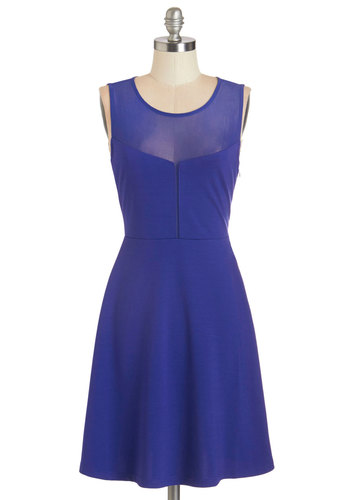 Berry Contemporary Dress by Jack by BB Dakota - Blue, Solid, Party, A-line, Sleeveless, Woven, Good, Scoop, Mid-length, Girls Night Out