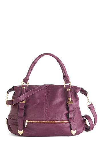 Every Day, Everywhere Bag in Plum - Purple, Solid, Buckles, Exposed zipper, Casual, Urban, Variation