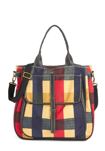 Just Go With It Tote - Multi, Plaid, Exposed zipper, Darling, Nifty Nerd, Festival, Americana, Fall, Winter, Scholastic/Collegiate, Work, WPI