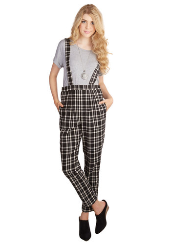 Letterpress Layout Pants - Overalls, Tapered Leg, Fall, Winter, Better, Mid-Rise, Full length, Black, Non-Denim, Jumpsuit, Scholastic/Collegiate, Work, Multi, Black, White, Pleats, Pockets