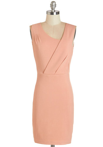 Head of the Room Dress - Solid, Pleats, Party, Girls Night Out, Shift, Sleeveless, Woven, Better, Pink