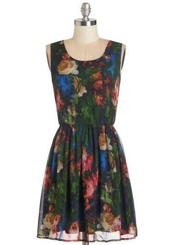 Paint Love Grand Dress - Multi, Floral, Casual, A-line, Sleeveless, Summer, Woven, Good, Scoop, Fall