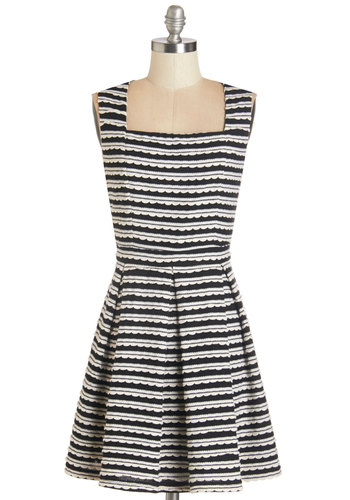 Wavy for You Dress - Black, White, Stripes, Pleats, Casual, A-line, Sleeveless, Knit, Better