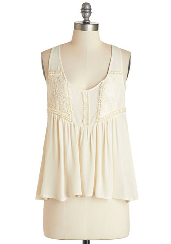 The Only Pearl for Me Top - Woven, Cream, Pearls, Sequins, Daytime Party, Tank top (2 thick straps), Scoop, White, Sleeveless