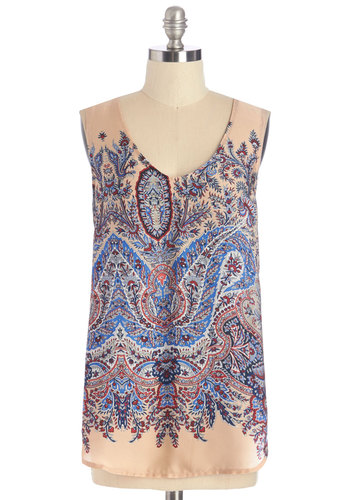 Juice Bar Crawl Top - Woven, Multi, Paisley, Cutout, Casual, Sleeveless, Scoop, Multi, Sleeveless