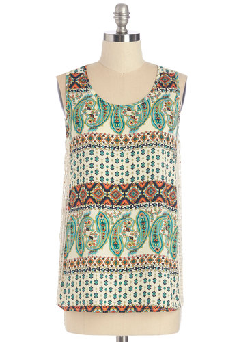 Oolong and Short of It Top - Cotton, Woven, Lace, Multi, Print, Crochet, Casual, Vintage Inspired, 70s, Tank top (2 thick straps), Scoop, Festival, Boho, Multi, Sleeveless