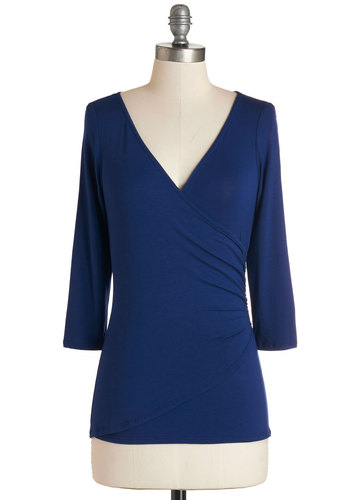 Saving Vase Top in Royal - Blue, 3/4 Sleeve, Knit, Blue, Solid, Ruching, 3/4 Sleeve, Basic, V Neck