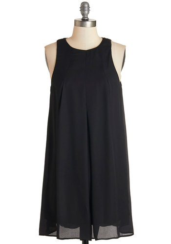 Style it Up Dress - Woven, Black, Solid, Party, Minimal, Sleeveless, Tent / Trapeze, Shift