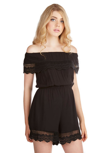 Sunshine Your Light Romper in Black - Spring, Summer, Better, Black, Romper, Long, Woven, Black, Solid, Boho, Festival, Off the Shoulder, Variation