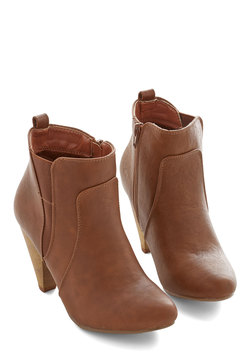 Bustling but Beautiful Bootie in Chestnut