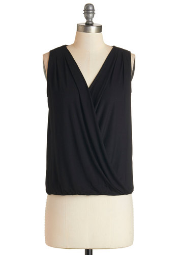 Breeze on the Bay Top - Black, Sleeveless, Jersey, Knit, Black, Solid, Work, Minimal, Sleeveless, V Neck