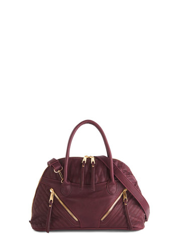 Got It in the Bag by Melie Bianco - Purple, Gold, Solid, Exposed zipper, Quilted, Purple, Fall, Winter