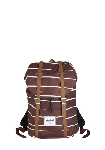 Welcome Aboard Backpack by Herschel Supply Co. - Brown, White, Stripes, Buckles, Casual, Scholastic/Collegiate, Travel, Fall