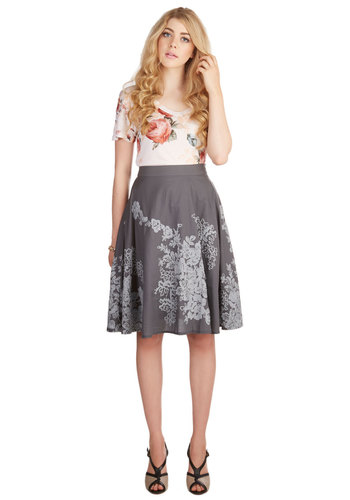 Outdoor Occasions Skirt in Slate - A-line, Fall, Winter, Cotton, Woven, Better, Grey, Grey, Embroidery, Work, Pockets, Daytime Party, Variation, Mid-length