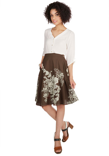 Outdoor Occasions Skirt in Chocolate - A-line, Fall, Cotton, Woven, Better, Brown, Floral, Embroidery, Work, Brown, Tan / Cream, Pockets, Daytime Party, Variation, Mid-length