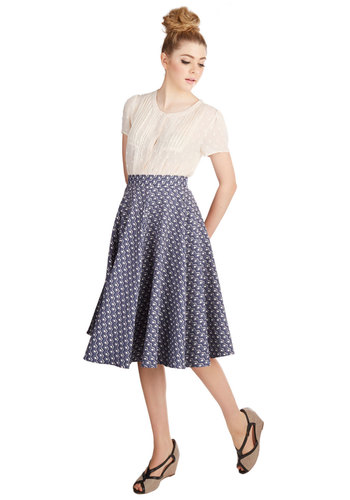 Finals Countdown Skirt by Closet - Better, Blue, Woven, Blue, Checkered / Gingham, Work, Full, White, Knee
