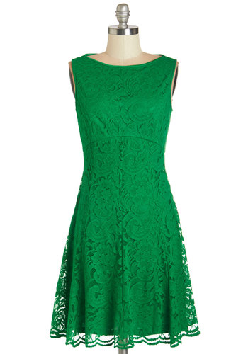 Reception Perfection Dress - Green, Solid, Cutout, Lace, Special Occasion, Cocktail, A-line, Sleeveless, Woven, Lace, Better, Boat, Wedding, Bridesmaid