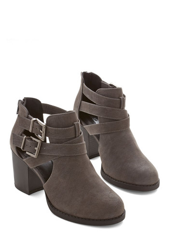 Adventure Essentials Bootie in Grey - Faux Leather, Grey, Solid, Buckles, Cutout, Urban, Good, Chunky heel, Strappy, Variation