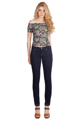 Fashion Philosophy Jeans - Skinny, Denim, Good, Low-Rise, Full length, Blue, Dark Wash, Denim, Knit, Blue, Solid, Pockets, Casual, Basic