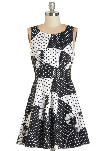Name of the Game Night Dress - Black, White, Polka Dots, Floral, Casual, Vintage Inspired, 60s, A-line, Sleeveless, Woven, Better, Scoop, Multi, Exposed zipper