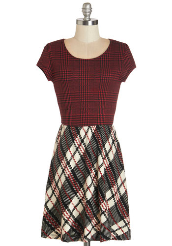 Back to Campus Dress - Multi, Plaid, Houndstooth, Cutout, Exposed zipper, Casual, Nifty Nerd, A-line, Cap Sleeves, Fall, Woven, Good, Scoop