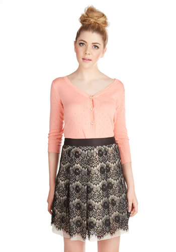 Contrasting Impression Skirt - Good, Black, Knit, Lace, Special Occasion, A-line, Black, White, Pleats, Short