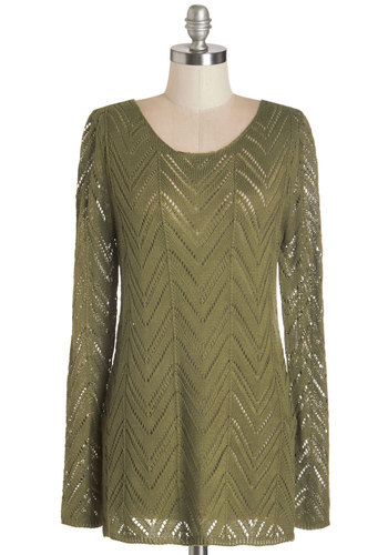Where There's a Willow Sweater - Sheer, Knit, Green, Solid, Casual, Long Sleeve, Fall, Scoop, Green, Long Sleeve